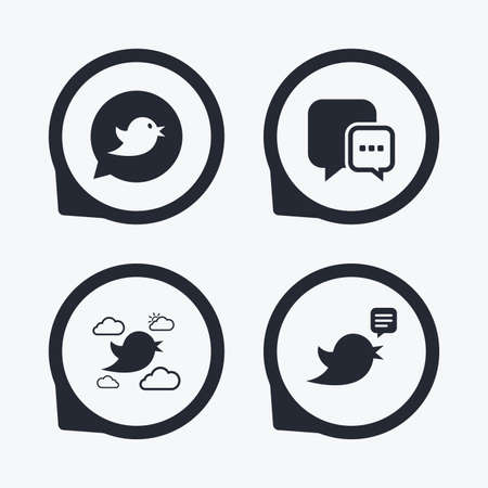three points: Birds icons. Social media speech bubble. Chat bubble with three dots symbol. Flat icon pointers.