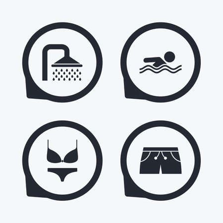 women in underwear: Swimming pool icons. Shower water drops and swimwear symbols. Human swims in sea waves sign. Trunks and women underwear. Flat icon pointers. Illustration