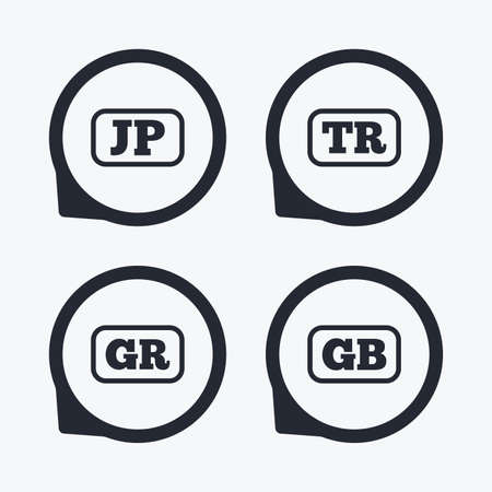 tr: Language icons. JP, TR, GR and GB translation symbols. Japan, Turkey, Greece and England languages. Flat icon pointers.