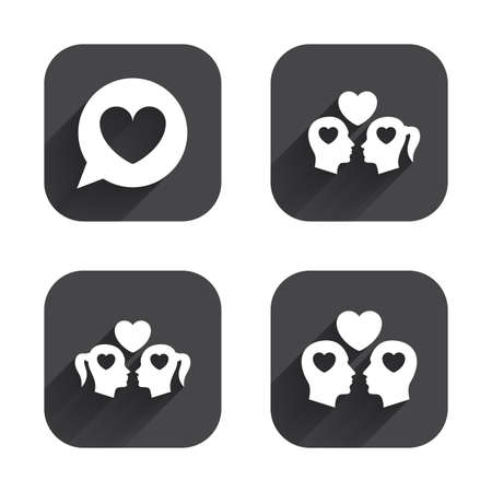 homosexual couple: Couple love icon. Lesbian and Gay lovers signs. Romantic homosexual relationships. Speech bubble with heart symbol. Square flat buttons with long shadow.