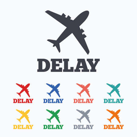 the delayed: Delayed flight sign icon. Airport delay symbol. Airplane icon. Colored flat icons on white background.