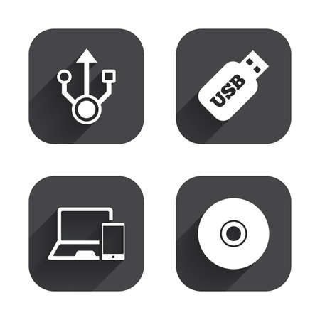 ultrabook: Usb flash drive icons. Notebook or Laptop pc symbols. Smartphone device. CD or DVD sign. Compact disc. Square flat buttons with long shadow.