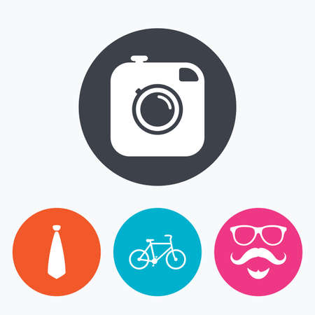 black hair blue eyes: Hipster photo camera. Mustache with beard icon. Glasses and tie symbols. Bicycle sign. Circle flat buttons with icon. Illustration
