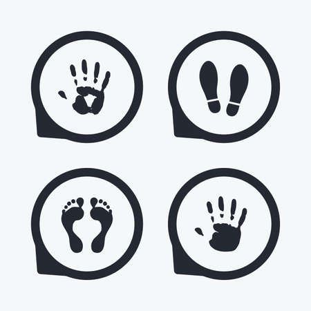 do not enter sign: Hand and foot print icons. Imprint shoes and barefoot symbols. Stop do not enter sign. Flat icon pointers.