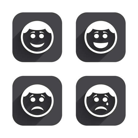 long depression: Circle smile face icons. Happy, sad, cry signs. Happy smiley chat symbol. Sadness depression and crying signs. Square flat buttons with long shadow. Illustration