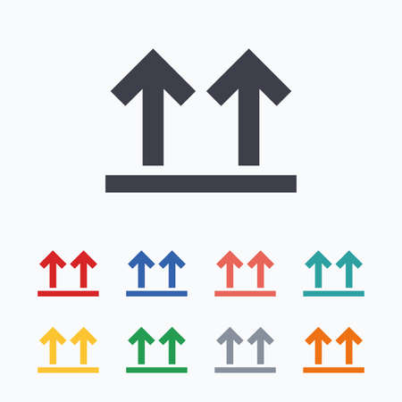 this: This side up sign icon. Fragile package symbol. Arrows. Colored flat icons on white background. Illustration