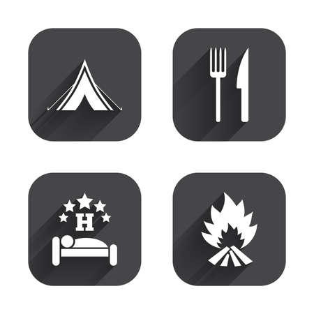 breakfast in bed: Food, sleep, camping tent and fire icons. Knife and fork. Hotel or bed and breakfast. Road signs. Square flat buttons with long shadow.