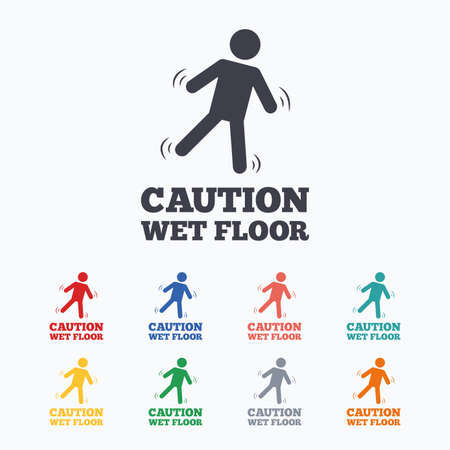 wet floor caution sign: Caution wet floor sign icon. Human falling symbol. Colored flat icons on white background.