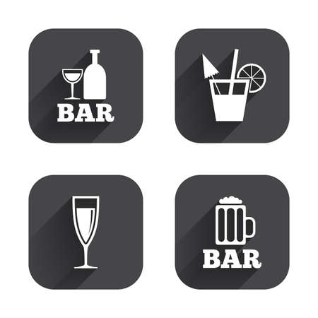 champagne orange: Bar or Pub icons. Glass of beer and champagne signs. Alcohol drinks and cocktail symbols. Square flat buttons with long shadow.