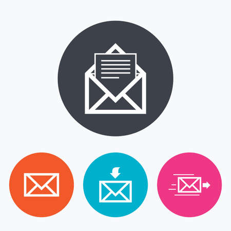 outbox: Mail envelope icons. Message document delivery symbol. Post office letter signs. Inbox and outbox message icons. Circle flat buttons with icon.