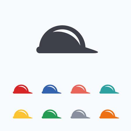 Twarde znak ikona kapelusz. Symbol kask budowlany. Kolorowe płaskie ikony na białym tle.