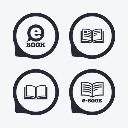 e book device: Electronic book icons. E-Book symbols. Speech bubble sign. Flat icon pointers.