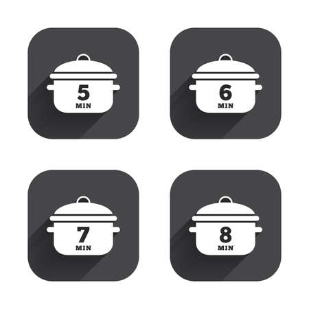 stew pan: Cooking pan icons. Boil 5, 6, 7 and 8 minutes signs. Stew food symbol. Square flat buttons with long shadow.