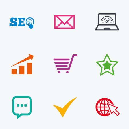 bandwidth: Internet, seo icons. Tick, online shopping and chart signs. Bandwidth, mobile device and chat symbols. Flat colored graphic icons.