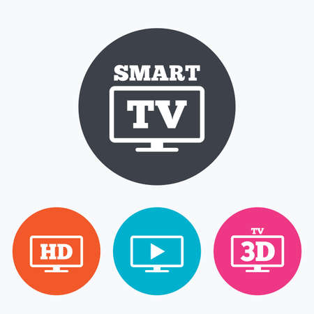 3d mode: Smart TV mode icon. Widescreen symbol. High-definition resolution. 3D Television sign. Circle flat buttons with icon.