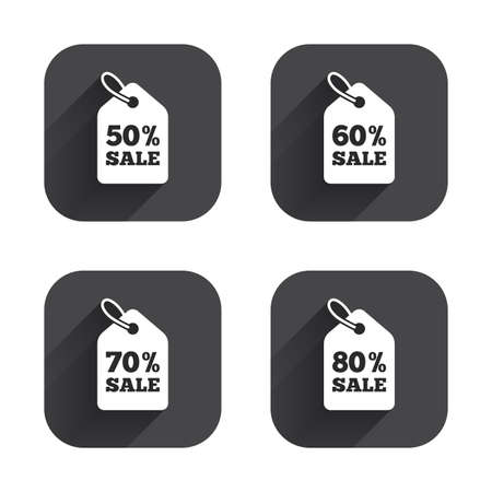 60 70: Sale price tag icons. Discount special offer symbols. 50%, 60%, 70% and 80% percent sale signs. Square flat buttons with long shadow.