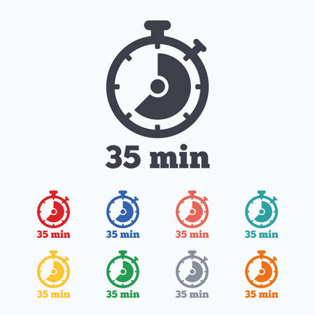 Timer sign icon. 35 minutes stopwatch symbol. Colored flat icons on white background. Illustration