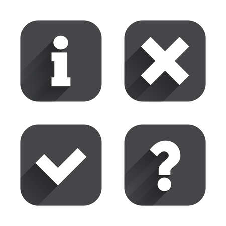 inform information: Information icons. Delete and question FAQ mark signs. Approved check mark symbol. Square flat buttons with long shadow.