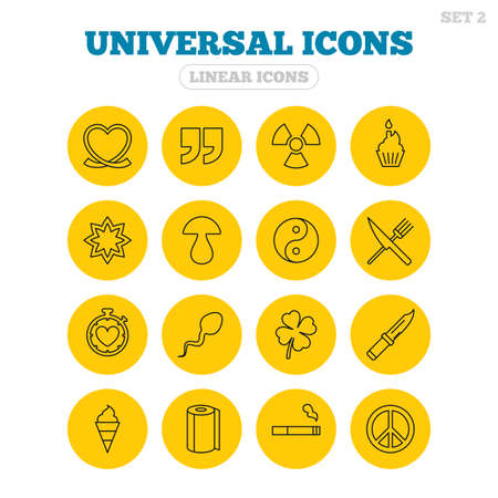 clover buttons: Universal icons. Quotes, ribbon heart and cake. Clover, mushroom and ice cream. Smoking, knife and fork. Linear icons on yellow buttons.
