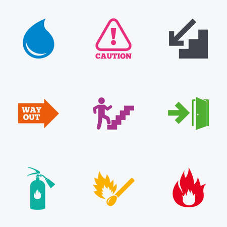 emergency attention: Fire safety, emergency icons. Fire extinguisher, exit and attention signs. Caution, water drop and way out symbols. Flat colored graphic icons.