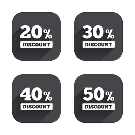 30 to 40: Sale discount icons. Special offer price signs. 20, 30, 40 and 50 percent off reduction symbols. Square flat buttons with long shadow.