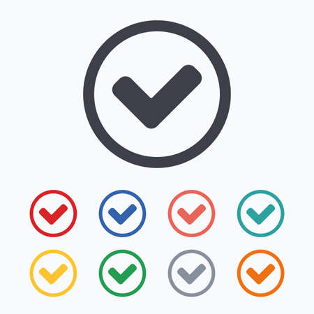 confirm: Check mark sign icon. Yes circle symbol. Confirm approved. Colored flat icons on white background.