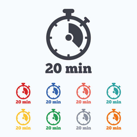 Timer sign icon. 20 minutes stopwatch symbol. Colored flat icons on white background. Vectores