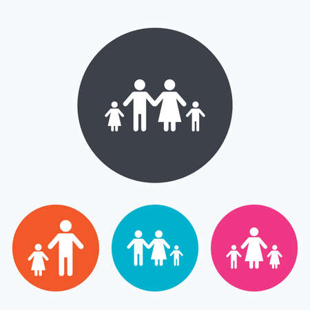 family with two children: Family with two children icon. Parents and kids symbols. One-parent family signs. Mother and father divorce. Circle flat buttons with icon.