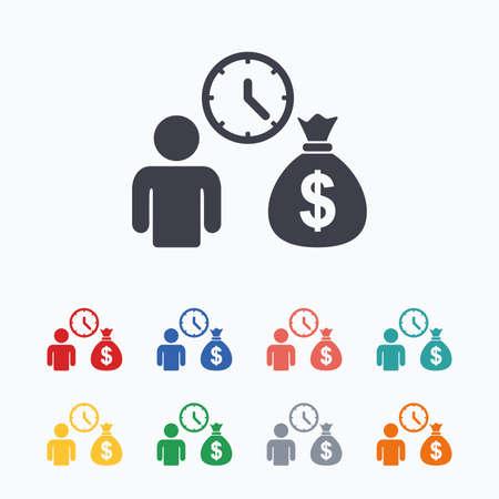 borrow: Bank loans sign icon. Get money fast symbol. Borrow money. Colored flat icons on white background.