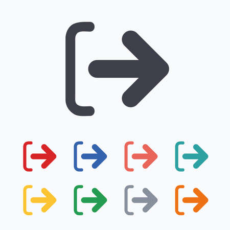sign out: Logout sign icon. Sign out symbol. Arrow icon. Colored flat icons on white background.