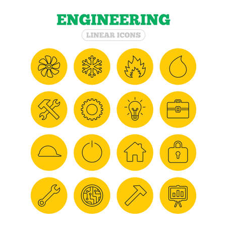 Engineering icons. Ventilation, heat and air conditioning symbols. Water supply, repair service and circuit board thin outline signs. Lamp, house and locker. Linear icons on yellow buttons.
