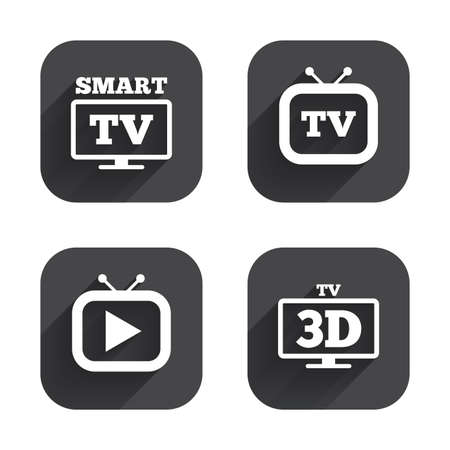 3d mode: Smart 3D TV mode icon. Widescreen symbol. Retro television and TV table signs. Square flat buttons with long shadow.