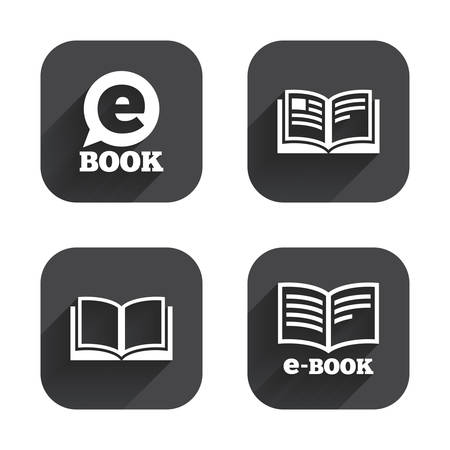 reading app: Electronic book icons. E-Book symbols. Speech bubble sign. Square flat buttons with long shadow. Illustration
