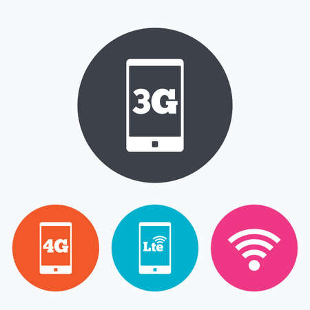 long term evolution: Mobile telecommunications icons. 3G, 4G and LTE technology symbols.