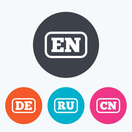 en: Language icons. EN, DE, RU and CN translation symbols. English, German, Russian and Chinese languages. Circle flat buttons with icon.
