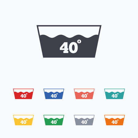 washbowl: Wash icon. Machine washable at 40 degrees symbol. Colored flat icons on white background.