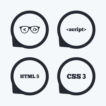 css3: Programmer coder glasses icon. HTML5 markup language and CSS3 cascading style sheets sign symbols. Flat icon pointers.