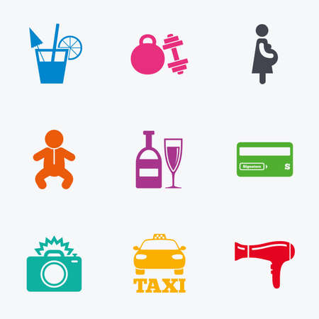 teteros: Hotel, iconos de servicio de apartamentos. Gimnasio. Coctel del alcohol, taxi y secador de pelo símbolos. iconos gráficos de colores planos. Vectores