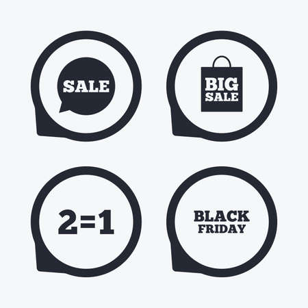 equals: Sale speech bubble icons. Two equals one. Black friday sign. Big sale shopping bag symbol. Flat icon pointers. Illustration