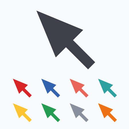 Mouse segno del cursore sull'icona. simbolo del puntatore. Colorate icone piane su sfondo bianco.