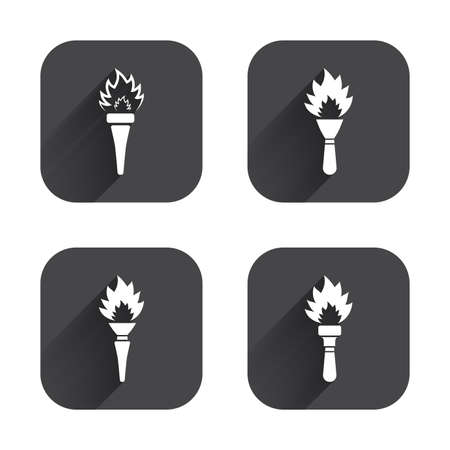 torch light: Torch flame icons. Fire flaming symbols. Hand tool which provides light or heat. Square flat buttons with long shadow.