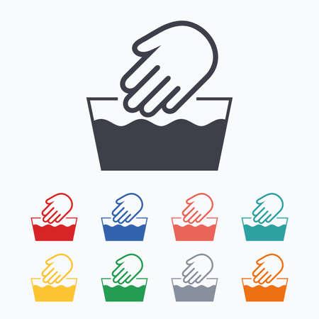 Handwäsche Symbol. Nicht maschinenwaschbar Symbol. Farbige flache Ikonen auf weißem Hintergrund.