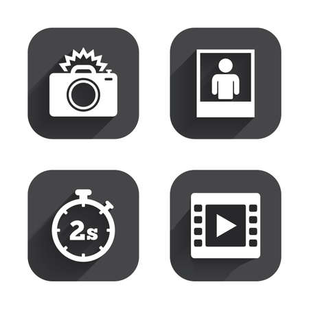seconds: Photo camera icon. Flash light and video frame symbols. Stopwatch timer 2 seconds sign. Human portrait photo frame. Square flat buttons with long shadow.