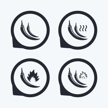 spicy food: Hot chili pepper icons. Spicy food fire sign symbols. Flat icon pointers.