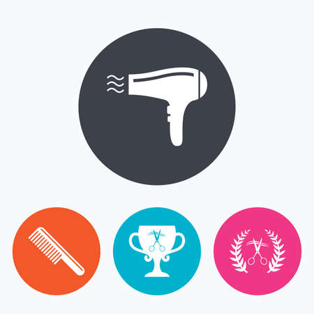 blow drying: Hairdresser icons. Scissors cut hair symbol. Comb hair with hairdryer symbol. Barbershop laurel wreath winner award. Circle flat buttons with icon.