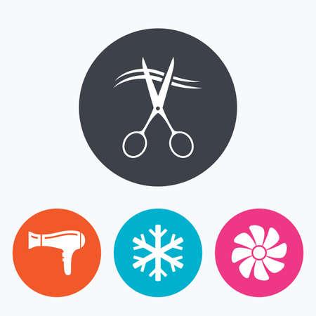 fiambres: Servicios de hoteles iconos. Aire acondicionado, Secador de pelo y ventilaci�n en los signos de las habitaciones. Control climatico. Peluquer�a o barber�a s�mbolo. Un c�rculo botones planos con el icono.
