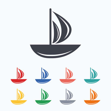 ship sign: Sail boat icon. Ship sign. Shipment delivery symbol. Colored flat icons on white background.