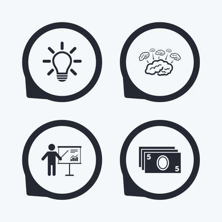 standing lamp: Presentation billboard, brainstorm icons. Cash money and lamp idea signs. Man standing with pointer. Scheme and Diagram symbol. Flat icon pointers.