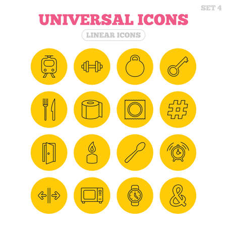 Universal icons. Fitness dumbbell, home key and candle. Toilet paper, knife and fork. Microwave oven. Linear icons on yellow buttons.