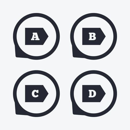 consumption: Energy efficiency class icons. Energy consumption sign symbols. Class A, B, C and D. Flat icon pointers. Illustration